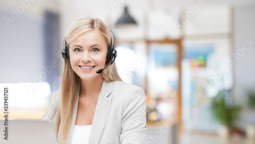 Obraz business, technology and communication concept - female helpline operator in headset working at office - fototapety do salonu