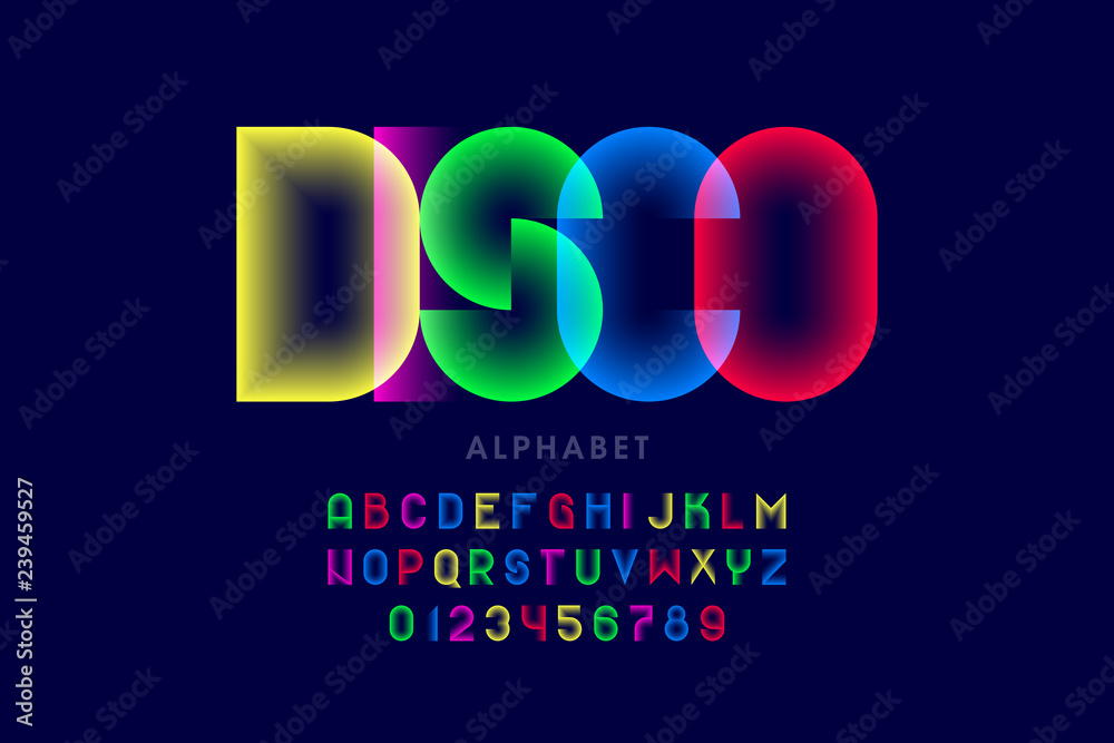 Fototapeta Colorful disco style font design, alphabet letters and numbers