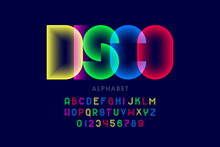 Colorful Disco Style Font Design, Alphabet Letters And Numbers
