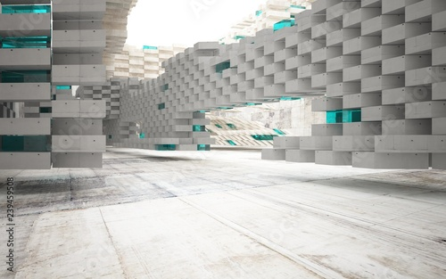 Foto op Aluminium Luchtfoto Abstract interior of concrete with blue glass. Architectural background. 3D illustration and rendering