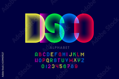 Colorful disco style font design, alphabet letters and numbers - 239459527