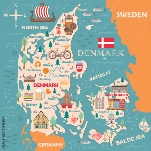 Stylized map of Denmark Wallpaper Mural