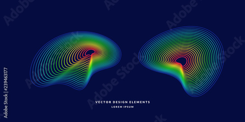 Photo Modern vector abstract elemetnt with colored lines.