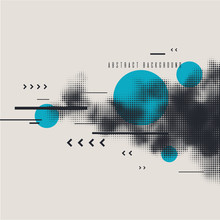 Modern Abstract Art Geometric Background With Flat. Vector Poster With Halftone Element