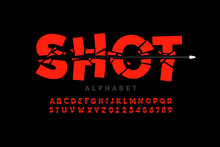 Bullet Shot Font, Alphabet Let...