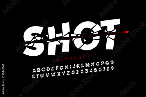 Foto Bullet shot font, alphabet letters and numbers