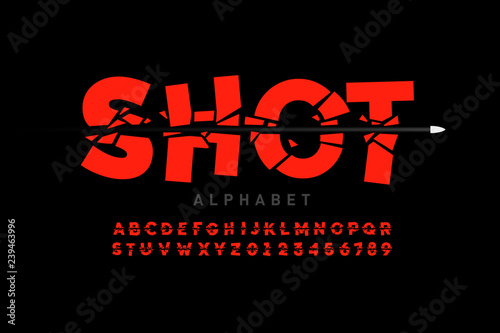 Carta da parati Bullet shot font, alphabet letters and numbers
