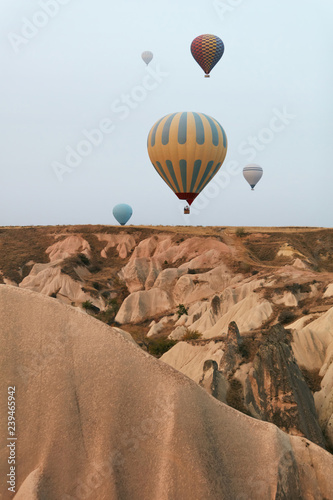 Cadres-photo bureau Marron Hot Air Balloons In Sky. Colorful Flying Balloons In Nature