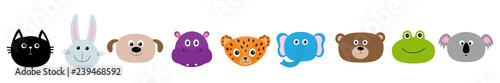 Zoo animal head face set. <b>Cute cartoon</b> character Baby children ...