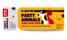 Pet Party Vector Tickets Template. You Are Invited Ticket For Entrance To The Party. Modern Elegant Template Of Ticket Card. Vector Illustration Of Dog And Cat Wearing Sunglasses.