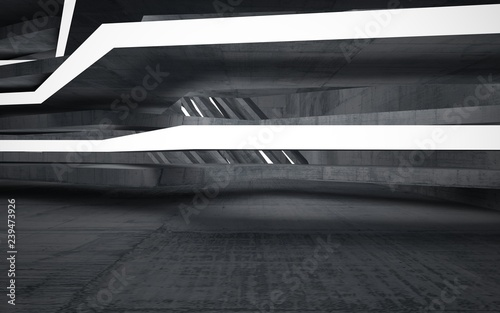 Papiers peints Tunnel Empty dark abstract concrete room interior. Architectural background. Night view of the illuminated. 3D illustration and rendering