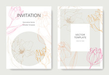 Vector Tulip Engraved Ink Art. Wedding Background Card Floral Border. Thank You, Rsvp, Invitation Card Illustration .