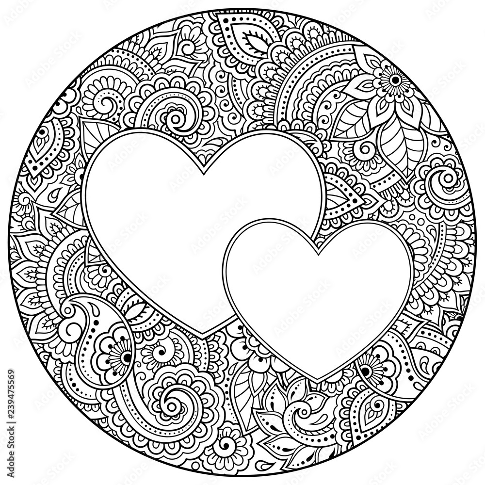 Round outline floral pattern with heart for coloring book ...