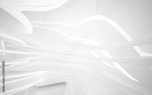 Fototapety, obrazy: Abstract white interior of the future, with neon lighting. 3D illustration and rendering