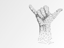 Origami Sign Language Y Letter, Two Fingers Pointing Up, Hand Showing Yes Gesture, Polygonal Low Poly. Deaf People Silent Communication Alphabet. Connection Wireframe. Raster On White Background