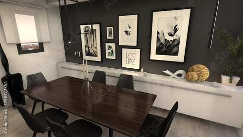 Fototapeta  proyecto 3d comedor estilo sofisticado moderno
