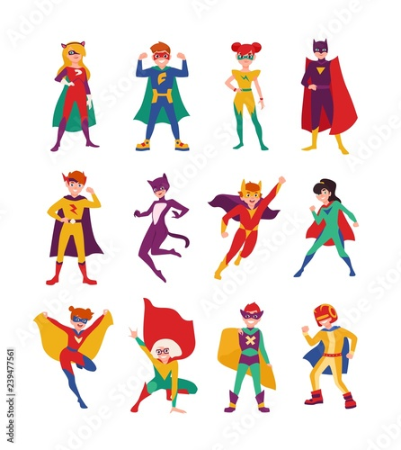 Fotomural Collection of kids superheroes