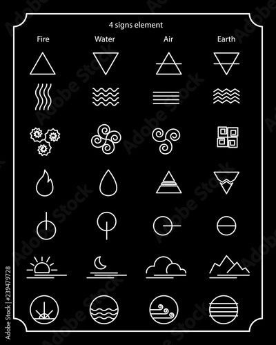 Nature sign element, fire signs, water signs, air signs, earth signs, design element, alchemy, modern icon set, nature symbolic