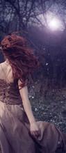 Beautiful Redhead Girl In The Night