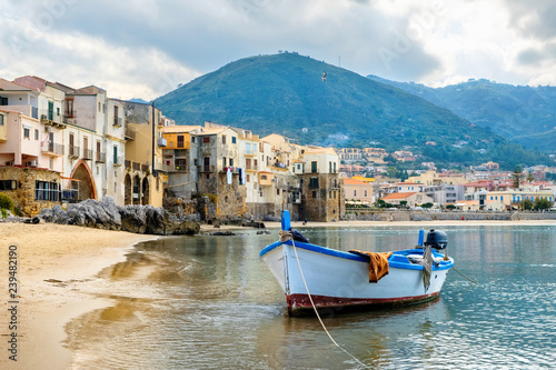 Printed kitchen splashbacks City on the water Harbour of Cefalu. Sicily, Italy