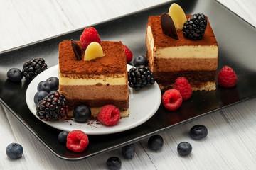 chocolate cake with fresh berries