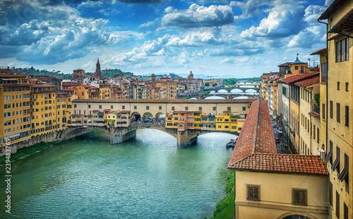 Famous bridge Ponte Vecchio on the river Arno in Florence, Italy.