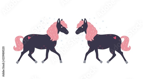 Adorable little black horse with pink mane and its symmetrical reflection Poster Mural XXL
