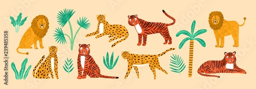 Photographie  Collection of amusing lions, tigers, leopards, exotic leaves, tropical plants and palm tree isolated on light background