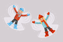 Cute Girl Boy Making Snow Angel Childhood Game Lying Back Moving Arms And Legs Shape Flat Design Vector Illustration
