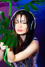 Dj Headphone Beach Summer Disco Girl Green Tropical Party Brunette Leaves Blue Wet Drop Monstera St Patricks Day
