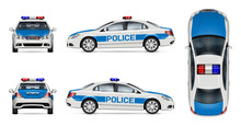 Police Car Vector Mockup On Wh...