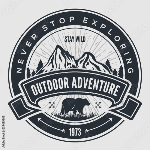 Outdoor Adventure vintage label, badge, logo or emblem Canvas Print