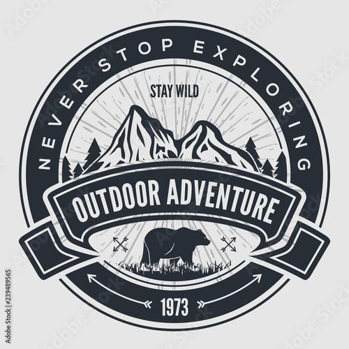 Stampa su Tela Outdoor Adventure vintage label, badge, logo or emblem