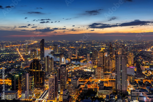 Aerial view of Bangkok cityscape, Thailand Canvas Print