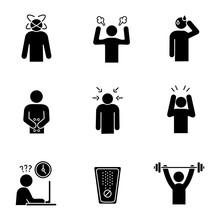 Emotional Stress Glyph Icons Set