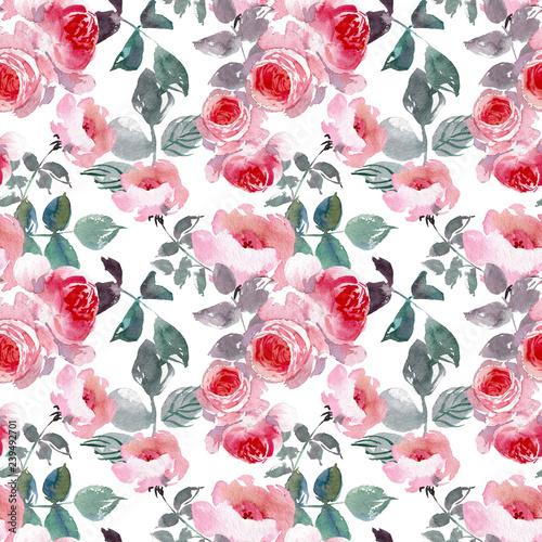 Fototapeten Künstlich Seamless pattern wild pink roses flower and green leaves. Watercolor floral illustration. Botanical decorative element. Flower concept. Botanica concept.