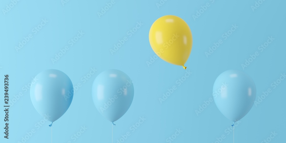 Fototapety, obrazy: Minimal concept outstanding yellow balloon floating with blue balloons on blue background