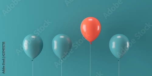 Fotografie, Obraz  Minimal concept outstanding red balloon floating with green balloons on green ba