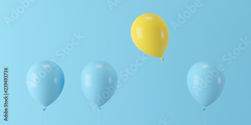 Minimal concept outstanding yellow balloon floating with blue balloons on blue b Принти на полотні