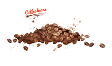 Watercolor Illustration Of Coffee Beans Pile