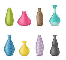 Realistic 3d Detailed Ceramic Vase Color Set. Vector
