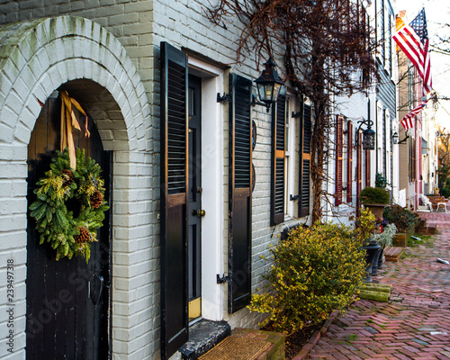Gas lamps on homes and home fronts in old town Alexandria Virginia Wallpaper Mural