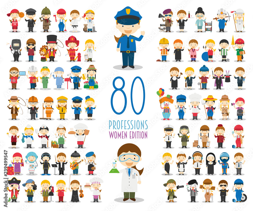 Fototapeta Kids Vector Characters Collection: Set of 80 different professions in cartoon style. Women Edition.