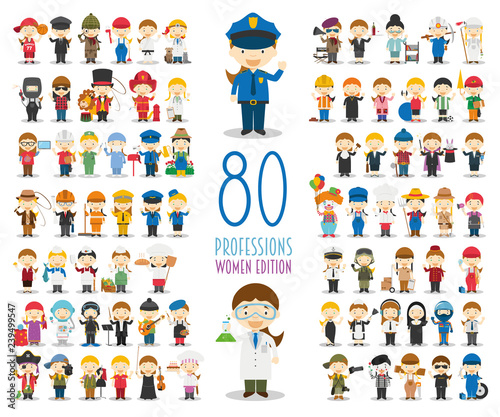 Obraz Kids Vector Characters Collection: Set of 80 different professions in cartoon style. Women Edition. - fototapety do salonu