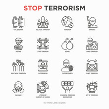 Stop Terrorism Thin Line Icons...