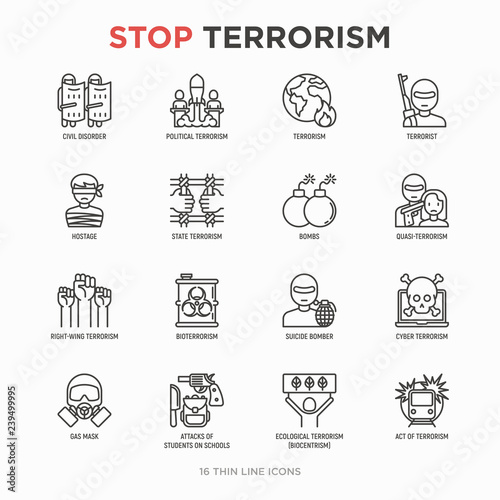Fotografía  Stop terrorism thin line icons set: terrorist, civil disorder, national army, hostage, bombs, cyber attacks, suicide, bomber, illegal imprisonment, bioterrorism
