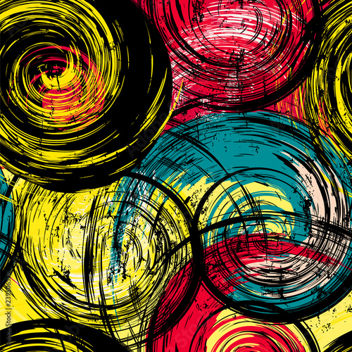 seamless background pattern, with circles/waves, strokes and splashes, grungy