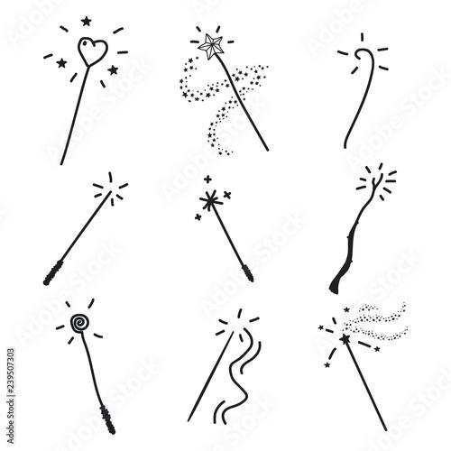Fotomural Magic wand doodle set