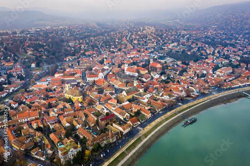Szentendre, Hungary - Aerial skyline view of Szentnedre, the lovely riverside to Canvas Print