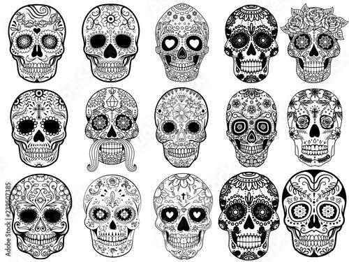 Photo Sugar skulls Set Vector Illustration